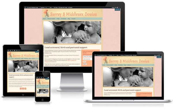 Surrey and Middlesex Doulas website screenshot