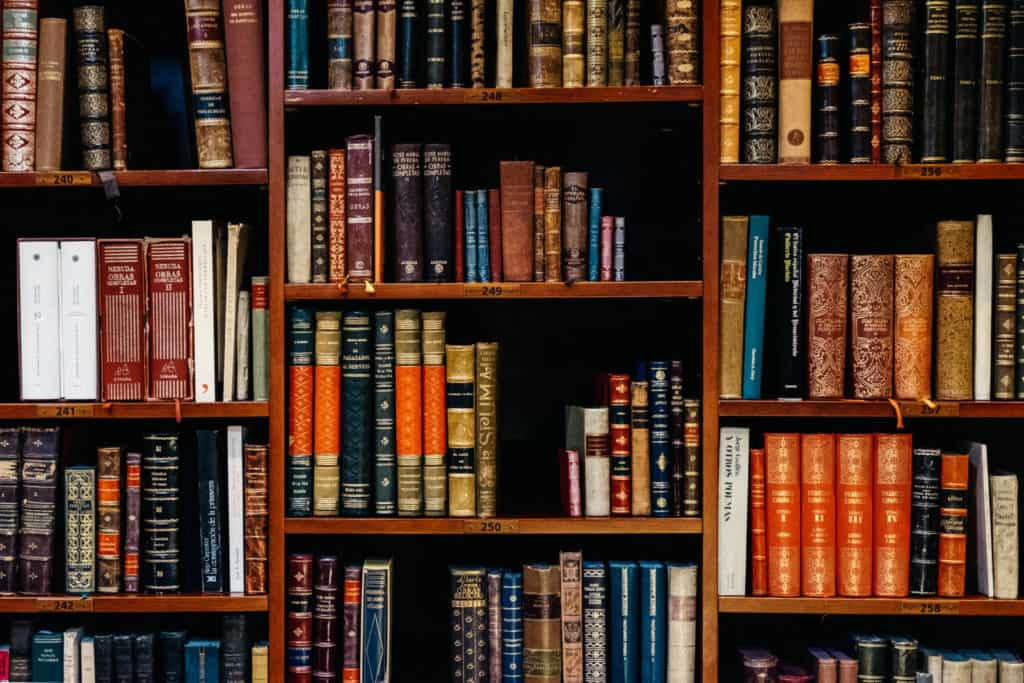 Image of library shelves to iluustrate the use of categories and tags in WordPress